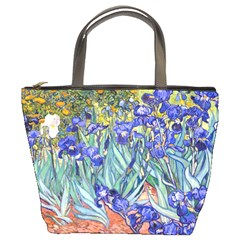 Vincent Van Gogh Irises Bucket Handbag by MasterpiecesOfArt
