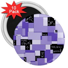 Purple Pain Modular 3  Button Magnet (10 Pack) by FunWithFibro