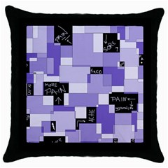 Purple Pain Modular Black Throw Pillow Case by FunWithFibro