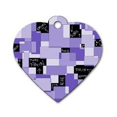 Purple Pain Modular Dog Tag Heart (One Sided)