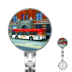 Double Decker Bus   Ave Hurley   Stainless Steel Nurses Watch by ArtRave2