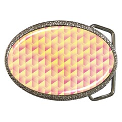 Geometric Pink & Yellow  Belt Buckle (oval)