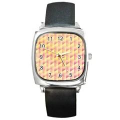 Geometric Pink & Yellow  Square Leather Watch by Zandiepants