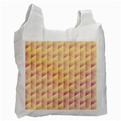 Geometric Pink & Yellow  White Reusable Bag (two Sides) by Zandiepants