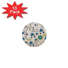 Whimsical Flowers Blue 1  Mini Button (10 Pack) by Zandiepants