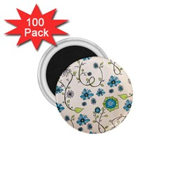 Whimsical Flowers Blue 1 75  Button Magnet (100 Pack) by Zandiepants