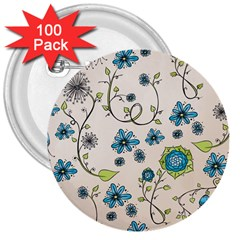 Whimsical Flowers Blue 3  Button (100 Pack) by Zandiepants