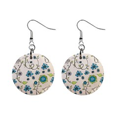 Whimsical Flowers Blue Mini Button Earrings