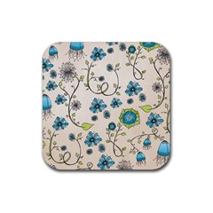 Whimsical Flowers Blue Drink Coasters 4 Pack (square) by Zandiepants