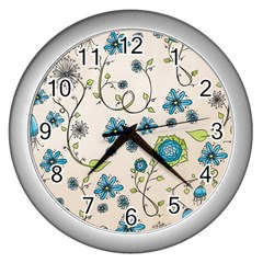 Whimsical Flowers Blue Wall Clock (silver) by Zandiepants