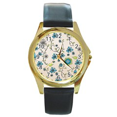 Whimsical Flowers Blue Round Leather Watch (gold Rim)  by Zandiepants