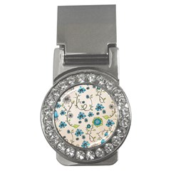 Whimsical Flowers Blue Money Clip (cz) by Zandiepants