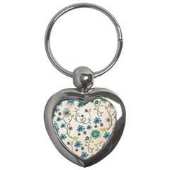 Whimsical Flowers Blue Key Chain (heart) by Zandiepants