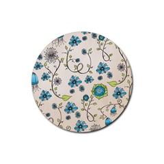 Whimsical Flowers Blue Drink Coaster (round) by Zandiepants
