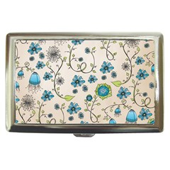 Whimsical Flowers Blue Cigarette Money Case by Zandiepants