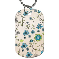 Whimsical Flowers Blue Dog Tag (two Sided)  by Zandiepants