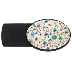 Whimsical Flowers Blue 2gb Usb Flash Drive (oval) by Zandiepants