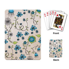 Whimsical Flowers Blue Playing Cards Single Design by Zandiepants
