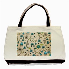 Whimsical Flowers Blue Classic Tote Bag by Zandiepants