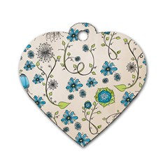 Whimsical Flowers Blue Dog Tag Heart (one Sided)  by Zandiepants
