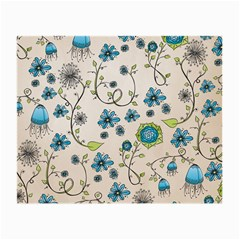 Whimsical Flowers Blue Glasses Cloth (small, Two Sided) by Zandiepants