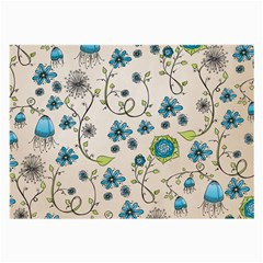 Whimsical Flowers Blue Glasses Cloth (Large, Two Sided)