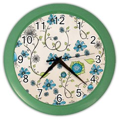 Whimsical Flowers Blue Wall Clock (color) by Zandiepants