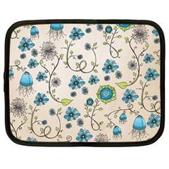 Whimsical Flowers Blue Netbook Sleeve (large) by Zandiepants