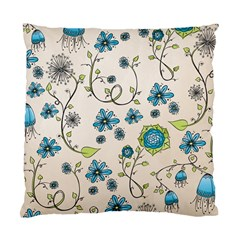 Whimsical Flowers Blue Cushion Case (single Sided)  by Zandiepants