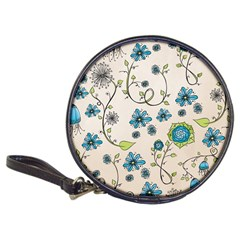 Whimsical Flowers Blue Cd Wallet by Zandiepants
