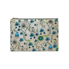 Whimsical Flowers Blue Cosmetic Bag (medium) by Zandiepants