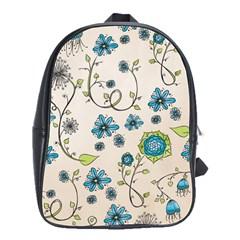 Whimsical Flowers Blue School Bag (large) by Zandiepants
