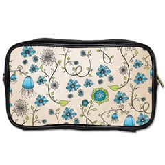 Whimsical Flowers Blue Travel Toiletry Bag (two Sides) by Zandiepants