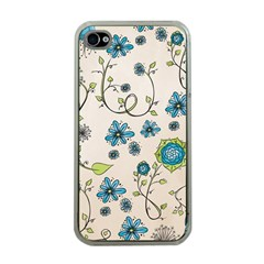 Whimsical Flowers Blue Apple Iphone 4 Case (clear) by Zandiepants