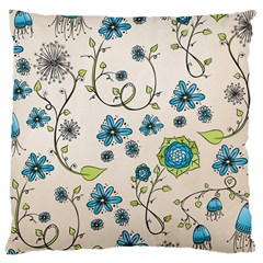 Whimsical Flowers Blue Large Cushion Case (two Sided)  by Zandiepants