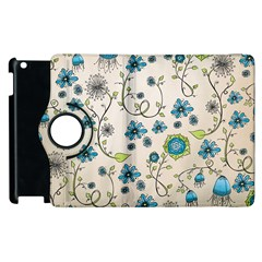 Whimsical Flowers Blue Apple Ipad 3/4 Flip 360 Case by Zandiepants