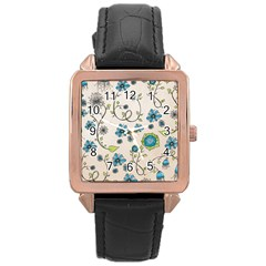 Whimsical Flowers Blue Rose Gold Leather Watch  by Zandiepants