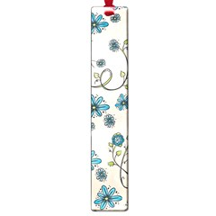 Whimsical Flowers Blue Large Bookmark by Zandiepants