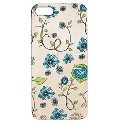 Whimsical Flowers Blue Apple Iphone 5 Hardshell Case With Stand by Zandiepants