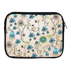 Whimsical Flowers Blue Apple Ipad Zippered Sleeve by Zandiepants