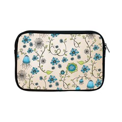 Whimsical Flowers Blue Apple Ipad Mini Zippered Sleeve by Zandiepants