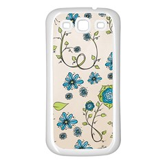 Whimsical Flowers Blue Samsung Galaxy S3 Back Case (white) by Zandiepants