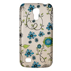 Whimsical Flowers Blue Samsung Galaxy S4 Mini (gt I9190) Hardshell Case  by Zandiepants