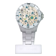 Whimsical Flowers Blue Nurses Watch by Zandiepants
