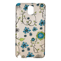 Whimsical Flowers Blue Samsung Galaxy Note 3 N9005 Hardshell Case by Zandiepants