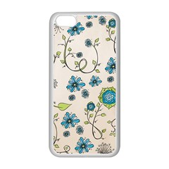 Whimsical Flowers Blue Apple Iphone 5c Seamless Case (white) by Zandiepants