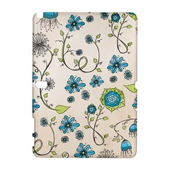 Whimsical Flowers Blue Samsung Galaxy Note 10 1 (p600) Hardshell Case by Zandiepants