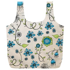 Whimsical Flowers Blue Reusable Bag (xl)