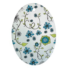 Blue Whimsical Flowers  On Blue Oval Ornament by Zandiepants