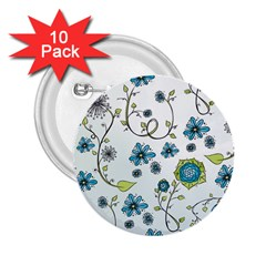 Blue Whimsical Flowers  on blue 2.25  Button (10 pack)